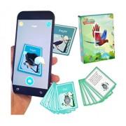 Joc realitate virtuala pentru telefon/tableta, imagini 3D (vezi video in descriere), cartonase de invatare a pasarilor in engleza, set de 48 cartonase cu pasari si descrierea lor, joc de invatare si atentie pentru copii, AR animals