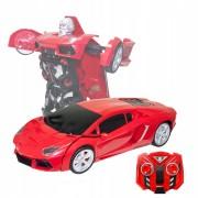 Robot transformer rosu, masina de curse, cu efecte sonore