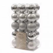 Decoris 30x Zilveren kerstballen 6 cm kunststof mix - Kerstbal