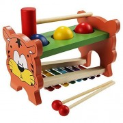 EchoAcc® Wooden Toys Pound & Tap Bench with Slide out Xylophone