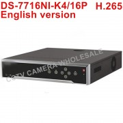 Free shipping DS-7716NI-K4/16P English version 16CH 4K NVR with 4 SATA and 16 POE ANR, alarm Recording up to 8 MP camera H.265