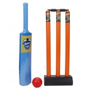 Mattel Hot-Wheels Cricket set packed in PVC carry case for Children of age 3 to 8 years| Premium Quality | Certified Safe as per European Safety Standards (EN71) | Sports development toys for Kids | Multi Color | Includes 1 Bat, 1 ball and Stumps with Bai