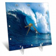 3dRose LLC 3dRose DC_80878_1 Surfing The Big One-Desk Clock, 6 by 6-Inch