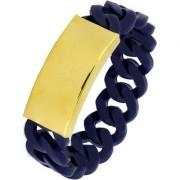 Biker Curb High Quality 18K Gold Plated Navy Blue Stretchable Silicon Free Size Strand Bracelet Men Boys