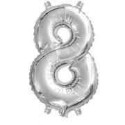 Stylewell Solid Silver Color Single Number (8) 3d Foil Balloon for Birthday Celebration Anniversary Parties