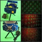 Двуцветен диско лазер със звуков контрол и точкови ефекти