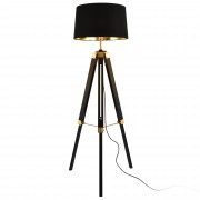 [lux.pro]® Tripod állólámpa Karlsbad 145 cm 1 x E27 fém váz vászon lámpabúra