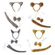 Amosfun 4 Juegos Disfraz de Animal de Niños de Tigre Lobo Oso Leopardo Diadema Animal Pajarita Cola Disfraz de Fiesta Halloween