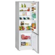 Combina frigorifica Liebherr CUel 2831, 265 L, SmartFrost, Control mecanic, 2 sertare legume, Raft sticle, H 161.2 cm, A++, Argintiu