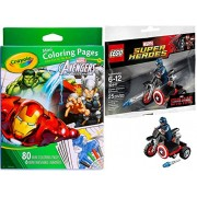 LEGO Super Heroes Captain America Motorcycle & Mini Figure (30447) with Crayola Marvel Avengers Mini Coloring Pages & Magic Marker Set