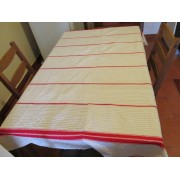 Antique hand woven, homespun hemp flax cotton tablecloth with red stripes from Transylvania