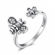 Inel argint 925 reglabil cu albinuta si zirconii albe- Be Nature IST0027