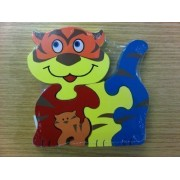 Childrens Kids Wooden Zoo Shape Puzzle Jigsaw Tiger & Baby
