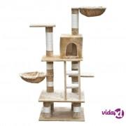 vidaXL Penjalica grebalica za mačke 122 cm od kremog pliša