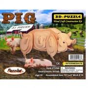 Puzzled Pig 3d Natural Wood Puzzle
