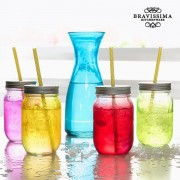 Sticla cu 4 Borcane de Sticla Vintage Colors Bravissima Kitchen