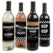 Big Dot Of Happiness Happy Retirement - Party Wine Bottle Label Stickers Set 4