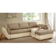 Lifestyle4Living Wohnlandschaft in beige-braun mit Gästebett, Bettkasten, 3 großen Rückenkissen und 2 kleinen Zierkissen