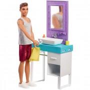 Mattel Barbie Playset Il Bagno di Ken. Bambola con Barba Che Appare e Sc...