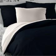 Lenjerie pat 1 pers. Luxury Collection, satin, alb/albastru înc., 140 x 200 cm, 70 x 90 cm