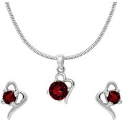 Mahi with Crystal Elements Red Victorian Heart Rhodium Plated Pendant Set for Women NL1104141RRed