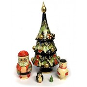 Hand Carved Painted 5 Nested Christmas Tree Santa Claus Snow Man Penguin Tree 8 Inch