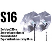 S16 Zestaw OŚWIETLENIOWY 2x 125W=600W Statyw 230cm