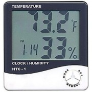 right traders HTC-1 Digital LCD Thermometer Temperature Humidity Meter with Clock Calendar Alarm