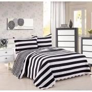 Quilt Cubrecama Negro y Blanco Diseño Rayas + Fundas para almohadas