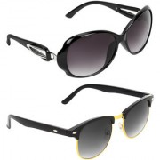 Zyaden Black Oval UV Protection Unisex Sunglasses Combo