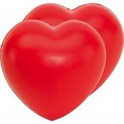 Bellatio Decorations 2x Stressballen rood hartjes vorm 8 x 7 cm