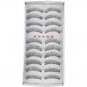 ER 10 Pares De Ojos Cruz Natural Suave Latigazos Extensión Maquillaje Pestañas Postizas -Negro