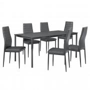 PremiumXL - [en.casa] Stilski design blagovaonski stol(tamno sivi, 160x80cm) - sa 6 stolica(tamno siva)
