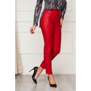 Pantaloni StarShinerS din piele ecologica rosi casual cu un croi mulat cu talie inalta