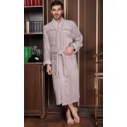 Five Wien Мягкий мужской халат из высококачественного бамбука бежевого цвета Five Wien FW1373 Бежевый