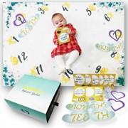 Milestone Blanket - Paturica pufoasa pentru fotografii si amintiri - nou nascuti si bebelusi - set cadou cu accesorii foto incluse - Flori si fluturasi