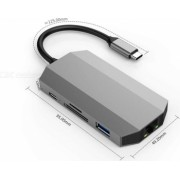 Adaptor Metalic Type C Laptop MTP 9 in 1 la HDMI RJ45 Enthernet 2USB 3.0 2Jack 3.5mm Micro SD/SD Card Reader + Type C PD