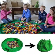 Amaza Toy Storage Bag, 150Cm Portable Drawstring Pouch Play Mat for Kids Toys Organizer, Floor Mats, Picnic Children (Green)