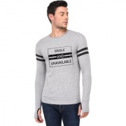TRENDS TOWER Full Sleeve Round Neck Thumb Ring Mens T-Shirt Grey-Melange Color Single And Unavailable Graphics Print
