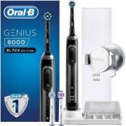 Електрическа четка за зъби Oral-B Genius 8000, Black Edition, Черна, SmartRing, 5 Програми, 3 Глави, Свързаност Bluetooth, Стойка за смартфон