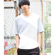 異素材コンビクレイジー5分袖Tシャツ