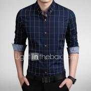Ruitjes-Informeel / Werk / Grote maten-Heren-Katoen / Polyester-Overhemd-Lange mouw-Blauw / Bruin / Rood / Wit / Grijs / Geelbruin