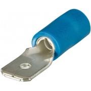 Conector plat izolat, alamă cositorită, manşon întărit, parţial izolat PVC, roşu, 6,3 x 0,8 mm, secţiune: 1,5 - 2,5 mm², albastru
