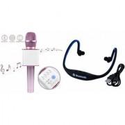 Zemini Q7 Microphone and BS19C Bluetooth Headset for PANASONIC ELUGA Z(Q7 Mic and Karoke with bluetooth speaker | BS19C Bluetooth Headset With Mic)