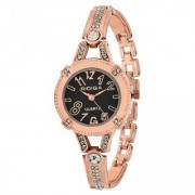 RIDIQA Analog Crystal Studded Black Dial Stainless Steel Golden Wrist Watch ForGirls Women-RD-071