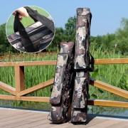 Sougayilang 80CM 120CM Gray Camouflage Double Layer Fishing Bag High-grade Wear-resisting Fishing Rod Case Fishing Tackle Bag