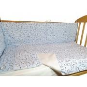Lenjerie patut bebe 4 piese Baby Bear albastru 60 x 120 cm
