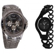 i DIVA'S Rosra Silver and Glory Black Chain Couple Watches for Men and Women by japan