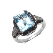 Inel argint, topaz, diamante albe si diamante negre