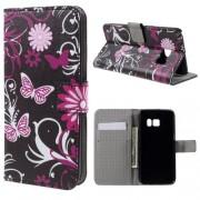 Кожен калъф за Samsung Galaxy S7 с цветя и пеперуди